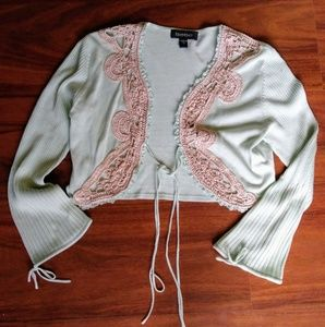 Bebe Sea Foam Green & Embroidery crop tie sweater